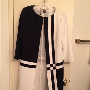 Basler Black and White Geometric Coat Jacket Sz 6